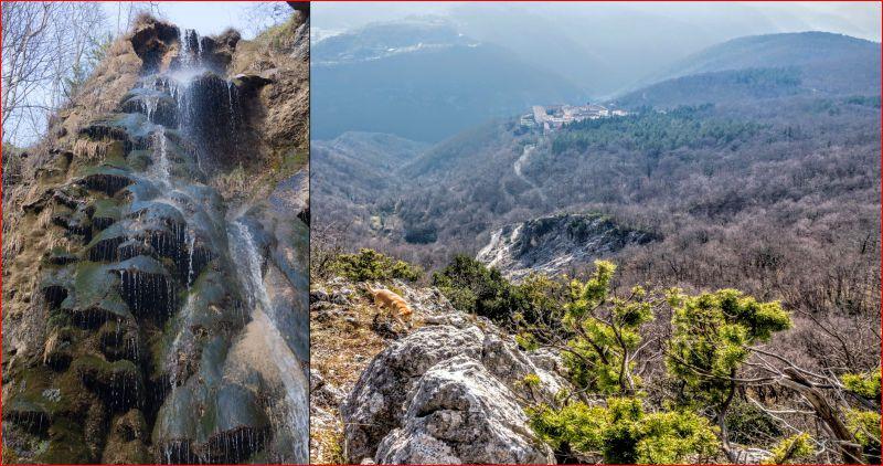 La cascata di Capo Rio e il balcone sulla Certosa di Trisulti